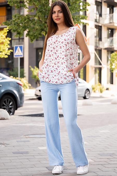 Купить белый летний топ в красный цветок. Женская одежда фото