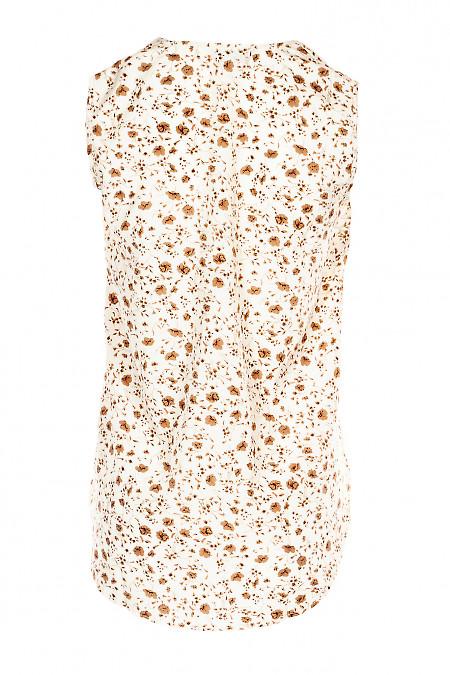 Купити молочний топ в коричневі квіти. Діловий жіночий одяг.