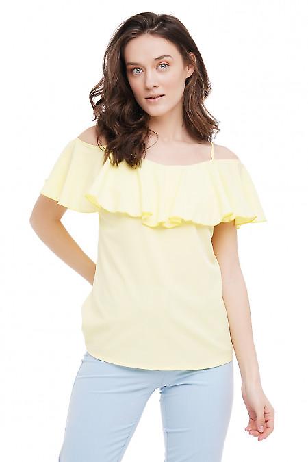 Топ с рюшью желтый Деловая Женская Одежда фото