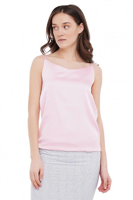 Топ шелковый бледно-розовый Деловая Женская Одежда фото