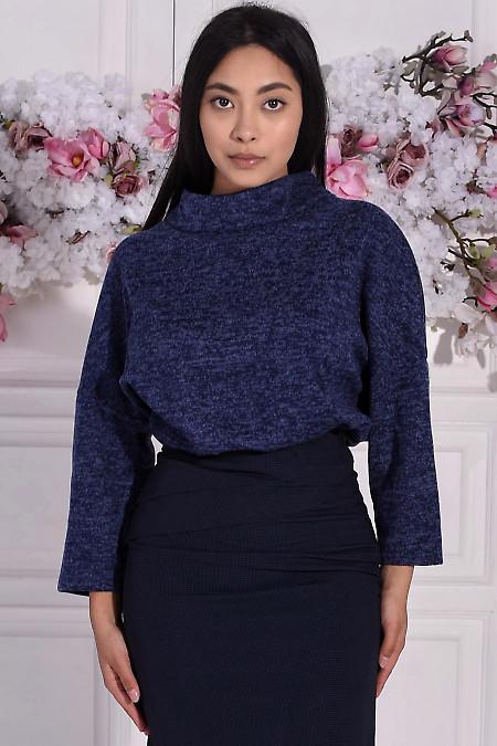 Туника тёплая синяя с манжетами. Деловая женская одежда