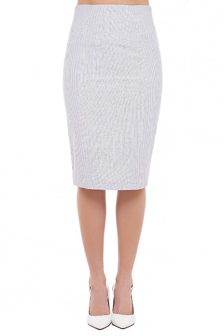 Юбка белая в серую полосочку Деловая Женская Одежда фото