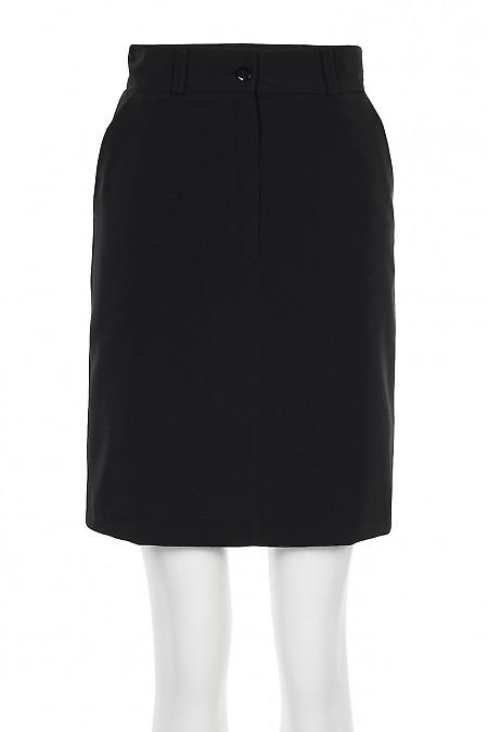 Спідниця чорна коротка із застібкою попереду. Діловий жіночий одяг.