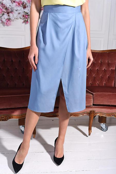 Юбка голубая на запах. Деловая женская одежда