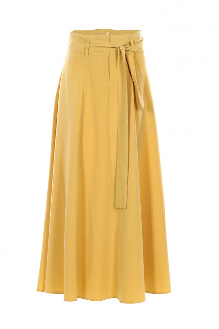Юбка горчичная пышная в пол. Деловая женская одежда фото