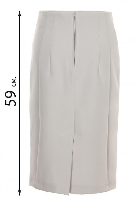 Купить юбку карандаш серого цвета без пояса. Деловая женская одежда фото