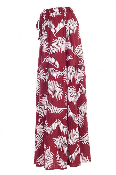 Купить юбку красно-белую льняную макси. Деловая женская одежда фото