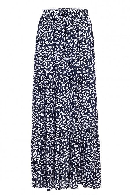 Юбка макси синяя в белый узор. Деловая женская одежда фото