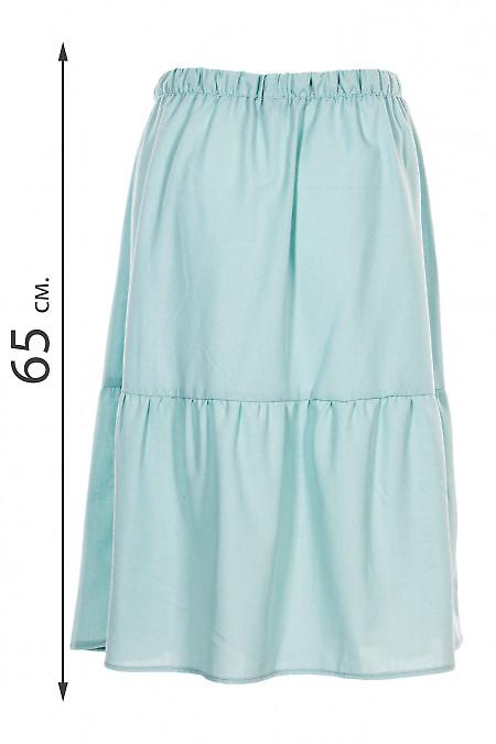 Купити спідницю лляну м'ятну на гумці. Діловий жіночий одяг.
