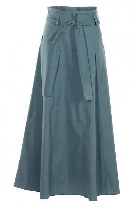 Юбка пышная бирюзовая с поясом. Деловая женская одежда