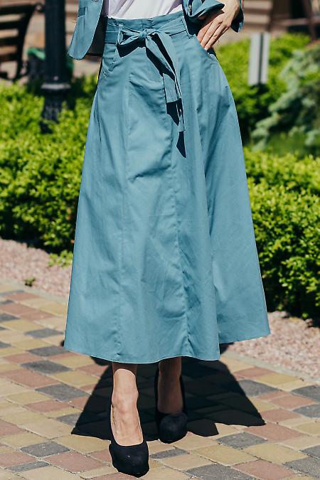 Купить бирюзовую юбку с карманами. Деловая женская одежда фото