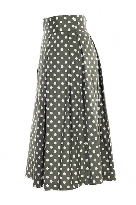 Купить зеленую юбку в складку в горошек. Женская одежда фото