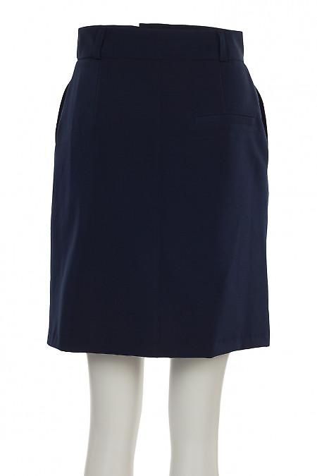 Купить юбку синюю с застежкой впереди. Деловая женская одежда фото