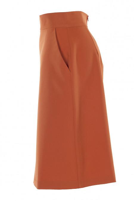 Купить терракотовую юбку с карманами. Деловая Женская Одежда фото