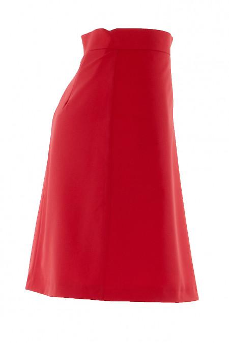 Короткая красная юбка без карманов
