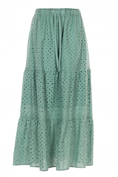 Спідниця в підлогу зелена з бавовни. Жіночий одяг.