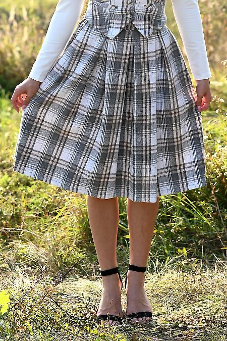 Купить теплую пышную юбку в клетку. Деловая женская одежда фото