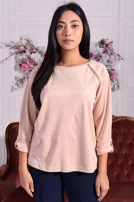 Замшевая блузка бежевого цвета. Деловая женская одежда