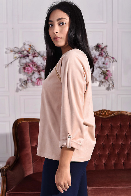 Замшевая блуза с коротким рукавом