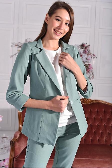 Жакет лляний оливковий. Діловий жіночий одяг