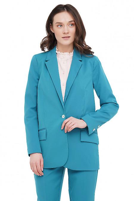 Жакет прямой бирюзовый Деловая Женская Одежда фото