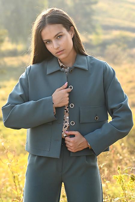 Стильний зелений жакет короткий. Діловий жіночий одяг.