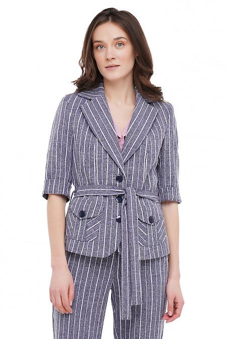 Жакет с накладными карманами синий в полоску Деловая Женская Одежда фото