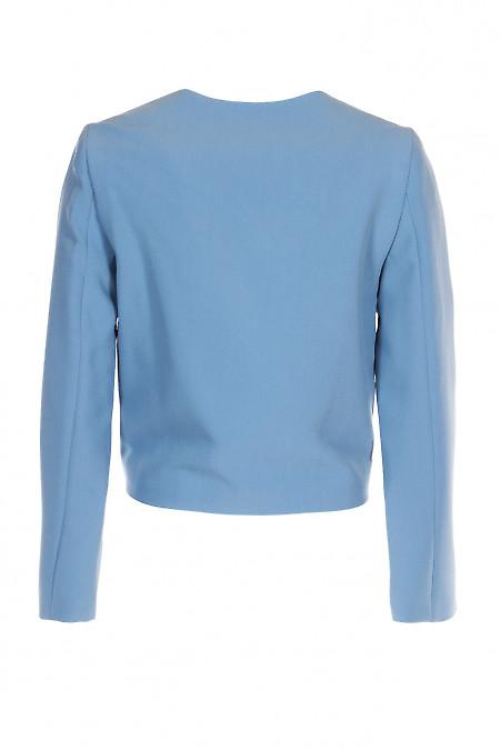 Жакет женский серо-голубой короткий. Деловая женская одежда фото