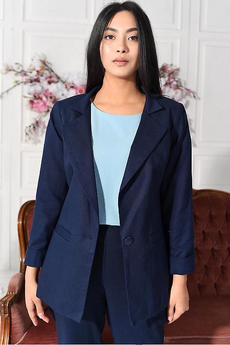 Жакет синій лляний. Діловий жіночий одяг фото