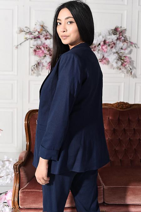 Жакет із льону синій  фото
