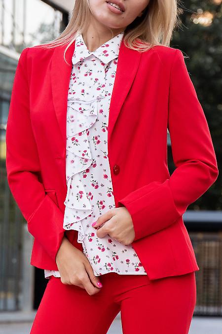 Купить красный женский жакет на одну пуговицу. Деловая женская одежда фото