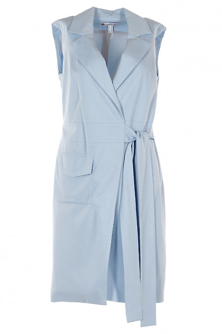 Жилет голубой длинный с поясом. Деловая женская одежда