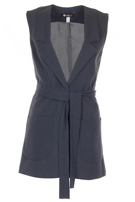 Жилетка синя в лапку Діловий жіночий одяг фото