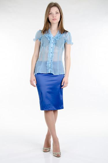 Блуза голубая с рюшами. Деловая женская одежда