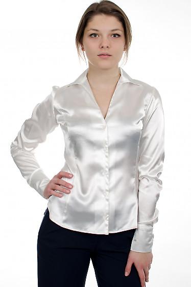 Блузка классическая из белого атласа Деловая женская одежда