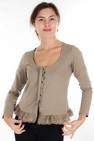 Блузка коричневая с кружевом Деловая женская одежда