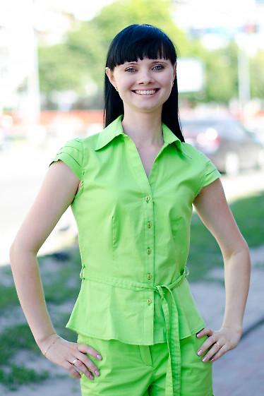 Блузка салатовая с поясом Деловая женская одежда