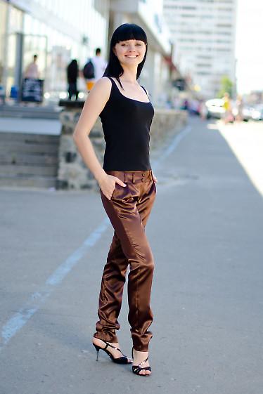 Брюки коричневые атласные Деловая женская одежда