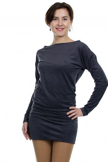 Платье-туника серое Деловая женская одежда