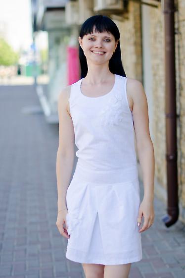 Платье белое с карманами Деловая женская одежда