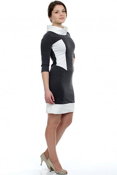 Платье серое с белым воротником Деловая женская одежда