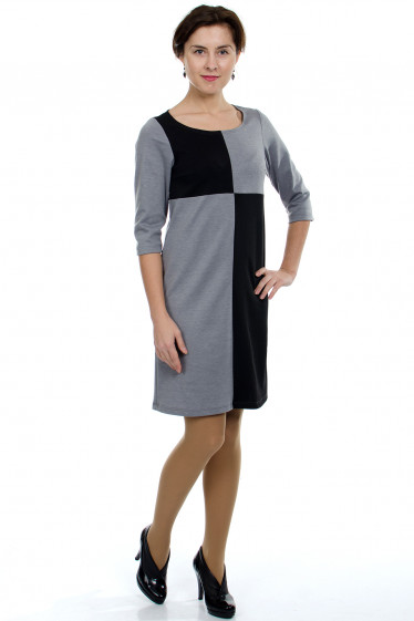 Платье серое Шахматка Деловая женская одежда