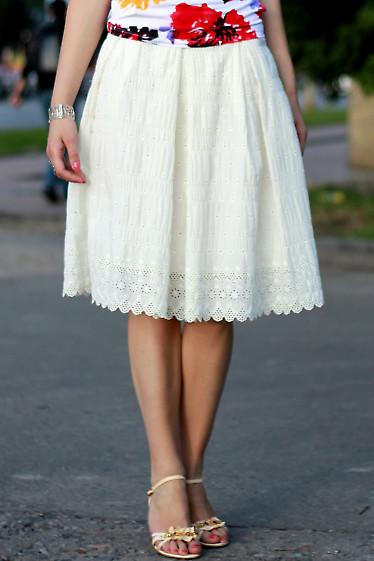 Юбка со складками молочная Деловая женская одежда