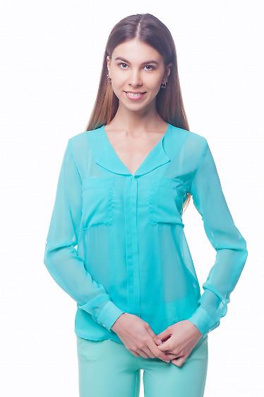Бирюзовая шифоновая блузка с карманами. Деловая женская одежда