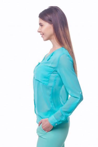 Купить бирюзовую шифоновую блузку с карманами Деловая женская одежда