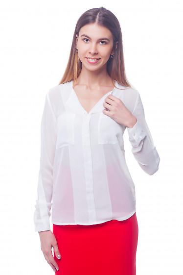 Белая шифоновая блузка с карманами. Деловая женская одежда