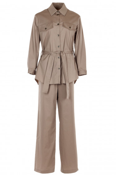 Бежевый комплект с брюками палаццо. Деловая женская одежда