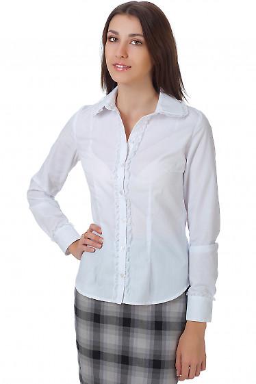 Фото Блузка белая классическая с кружевом Деловая женская одежда