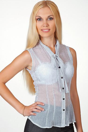 Фото Блузка без рукавов в черный горошек Деловая женская одежда