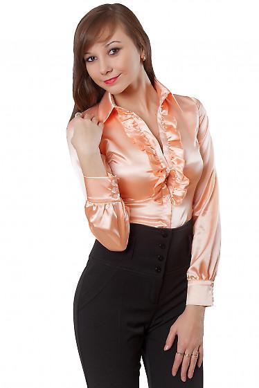 Блузка персиковая с рюшей Деловая женская одежда